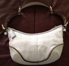 Classic Coach Leather And Cloth Ivory Monogram Small Hobo Bag