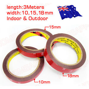 3M Double Face Sided Tapes pack 10mm,15mm,18mm 3 Meters for Automotive Usage AU