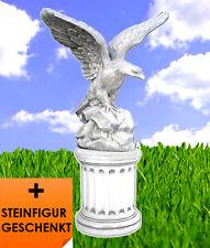 Adler Steinfigur mit Sockel + GESCHENK Vogel Skulptur Tierfiguren BLACKFORM