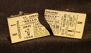 Mid Century Broadway Play Ticket Cufflinks 1966 Hello Dolly Gold Tone