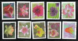 2021 Sc #5558-67 Garden Beauty Booklet - Set of 10 stamps  Used