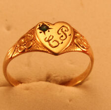 100% Genuine Vintage 9ct Solid Gold Signet Ring with a Small Emerald Sz 4.25