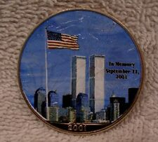 2001 Colorized American Silver Eagle Dollar - Twin Towers / God Bless America