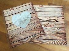 Wood Grain White Rose Heart Front & Back Cover Set 4 use w/ Erin Condren Planner