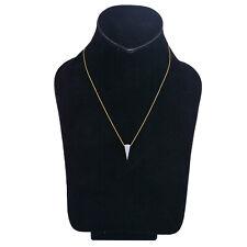 Diamond Pave 14K Yellow Gold Arrowhead Pendant Necklace Indian Handmade Jewelry