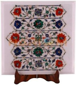 "14""x12"" White Marble Coffee Table Top Precious Floral Inlay Home Decorative W540"
