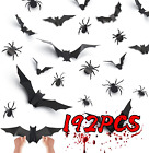 192 Pcs 3d Bats Spiders Wall Stickers Halloween Home Decor Removable Mix Pack