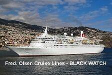 SOUVENIR FRIDGE MAGNET of CRUISE SHIP BLACK WATCH - FRED. OLSEN LINES