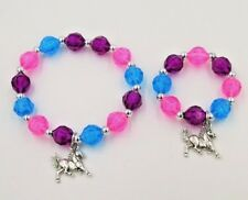 Horse charm bracelets matching dolls,little girls beaded jewelry accessory