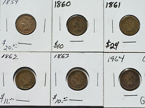 1859-1864 1c Indian Cent Copper Nickel 6 Coin Lot Collection Circulated Coins