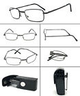 Square Metal Frame Foldable Reading Glasses Folding Reader Hard Cases with Clip