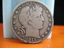 1915  BARBER HEAD HALF-KEY DATE IN VG CONDITION.