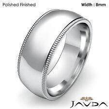 Plain Men Wedding Band Dome Milgrain Solid Ring 8mm Platinum 17.9g Size 11-11.75