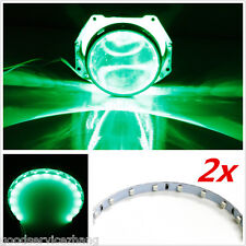 "Green 15-SMD LED Angel/demon Eye Halo Ring 2.5"" 2.8"" 3.0"" Retrofit Projector Len"