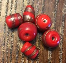 Vintage Red w Copper Sparkle Roundish Tear & Tube Art Glass Bead Lot