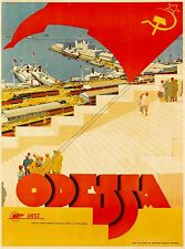 Odessa Ukraine URSS USSR Vintage Russian Travel Advertisement Art Poster