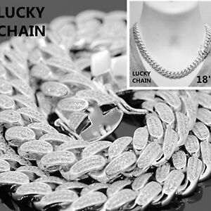 14K WHITE GOLD FINISH BLING OUT CUBAN LINK CHOKER CHAIN NECKLACE 18''x12mm 137g