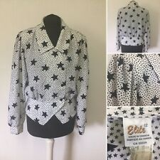 Vintage Blouse Size Approx 12 1990s Black & White Star Pattern