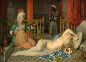 Jean Auguste Dominique Ingres Odalisque with a Slave Poster Giclee Canvas Print