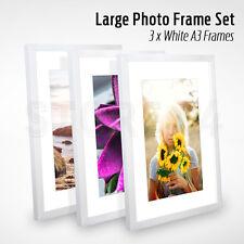3 PCS Large Photo Frame Set A3 WHITE Picture Frames Multi Bulk Wall