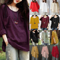 Womens Long Sleeve Baggy Cotton Linen Blouse Smock Vintage Casual T-Shirts Top