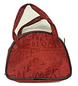 Womens Mini Coin Purse with Handles Red Nylon with Lettering Unbranded