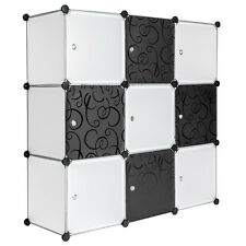 Plastic shelf storage wardrobe rack organiser cube system cupboard black white