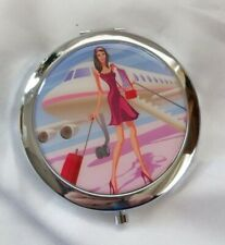 Lady and Aeroplane Cosmetic Compact Travel Mirror
