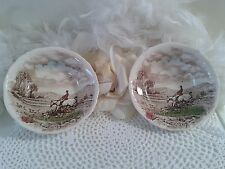 2 Porcelain bowls with countryside pursuit label The chase by Alfred Meakin