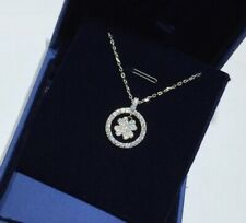Halo Ring Flower Clover Silver SP Pave Cubic Zirconia Pendant Chain Necklace
