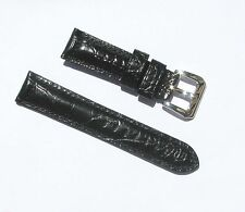 22mm Quality Thick Leather Padded Black Gator Grain Watch Band - Size Regular