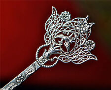 Tribal Exotic Chinese Handmade Miao Silver Carved Hair Sticks Hairpin