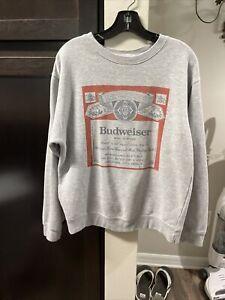 Urban Outfitters Junk Food Small Heather Grey/Gray Cotton Budweiser Sweatshirt