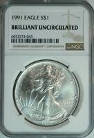 1991 American Silver Eagle Dollar $1 / Certified NGC BU 🇺🇸 w/Bonus Round