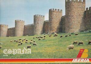Original Vintage Poster Iberia Airline Spain Avila Sheep Travel España