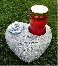 Herz mit Rose *Wir vermissen Dich* Grabschmuck Grabdeko für Grabkerze grau-antik