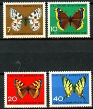 Germany 1962 Butterflies in Natural Colors 4 MH Semi-Postals Scotts B380 - B383