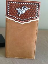 MENS NOCONA HIP WALLET BROWN W/BULL RIDER CONCHO