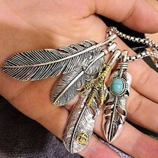 Fashion Retro Necklace Feather Pendant Trendy Necklace Long Sweater Chain