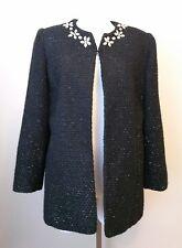 Alfred Dunner Black Blazer Jacket Metallic Thread Rhinestones Size 10P 10 Petite