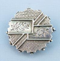 1880s Silver Brooch Round Aesthetic Movement Antique Victorian English Retro