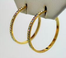 Classic Fashion Jewelry gold tone 2.5 inches round  hoop Earring -clear+ ab A205