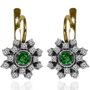14K Solid Yellow & White Gold Genuine Emerald and Diamond Russian Style Earrings