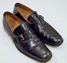 Bally Tazio Black Butcher Monk Strap Leather Belted Loafer Slip On 11.5 E W