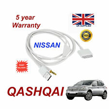 For Nissan QASHQAI Audio System iPhone 3GS 4 4S iPod USB & 3.5mm Aux Cable white