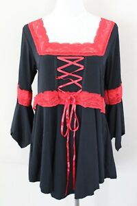 Victorian Gothic Black with red Lace Blouse Shirt Halloween Top Women's L New