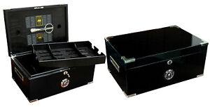 The Dakota Triple Black Cigar Humidor with Black Interior & Cigar Scissors
