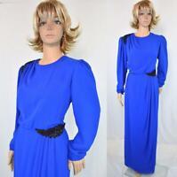 VTG 70s Miss Elliette Royal Blue Beaded Chiffon Draped Jackie O Cocktail Dress
