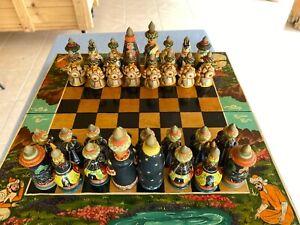 Tajik chess set, hand carved & painted.