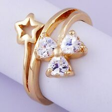 Nice Yellow Gold Filled Heart crystal Womens Ring Gifts Size 8 Free Shipping